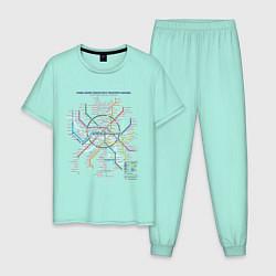 Пижама хлопковая мужская Moscow Metro цвета мятный — фото 1