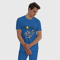 Пижама хлопковая мужская House M.D. Pills цвета синий — фото 2