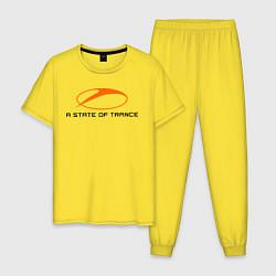 Пижама хлопковая мужская A State of Trance цвета желтый — фото 1