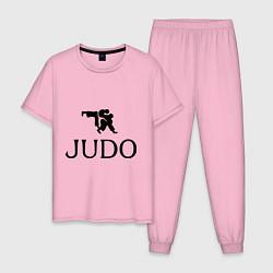 Пижама хлопковая мужская Judo цвета светло-розовый — фото 1