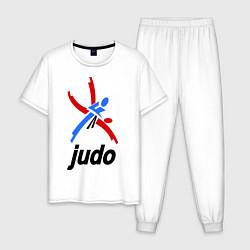 Пижама хлопковая мужская Judo Emblem цвета белый — фото 1