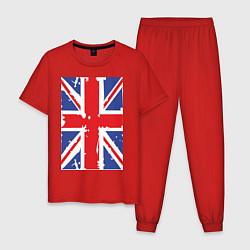 Пижама хлопковая мужская Британский флаг цвета красный — фото 1