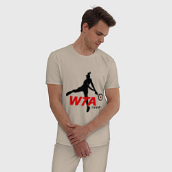 Пижама хлопковая мужская WTA Tour цвета миндальный — фото 2
