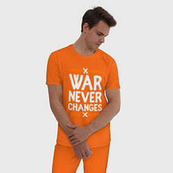 Пижама хлопковая мужская War never changes цвета оранжевый — фото 2