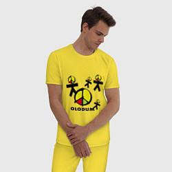 Пижама хлопковая мужская Olodum цвета желтый — фото 2