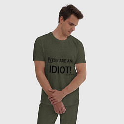 Пижама хлопковая мужская You are an idiot! цвета меланж-хаки — фото 2