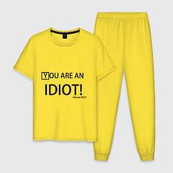 Пижама хлопковая мужская You are an idiot! цвета желтый — фото 1