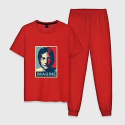 Пижама хлопковая мужская Lennon Imagine цвета красный — фото 1