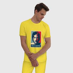 Пижама хлопковая мужская Lennon Imagine цвета желтый — фото 2