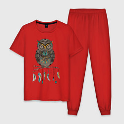 Пижама хлопковая мужская Сова-шаман цвета красный — фото 1