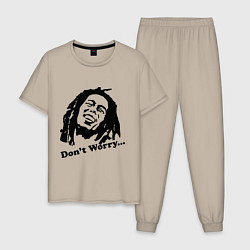 Пижама хлопковая мужская Bob Marley: Don't worry цвета миндальный — фото 1