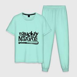 Пижама хлопковая мужская Naughty by nature цвета мятный — фото 1