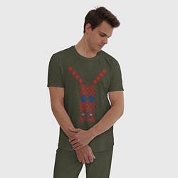 Пижама хлопковая мужская Узор славянского сарафана цвета меланж-хаки — фото 2