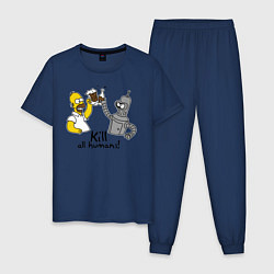 Пижама хлопковая мужская Kill all humans цвета тёмно-синий — фото 1