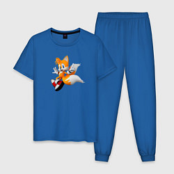 Пижама хлопковая мужская Лисенок Тейлз цвета синий — фото 1