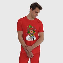 Пижама хлопковая мужская Олень на байке цвета красный — фото 2