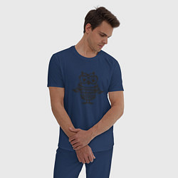 Пижама хлопковая мужская Сова в очках и свитере цвета тёмно-синий — фото 2