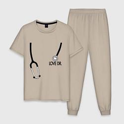 Пижама хлопковая мужская Love Dr. House цвета миндальный — фото 1