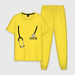 Пижама хлопковая мужская Love Dr. House цвета желтый — фото 1