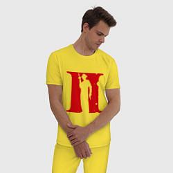 Пижама хлопковая мужская Мафия цвета желтый — фото 2