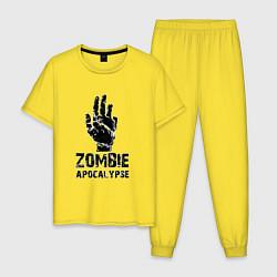Пижама хлопковая мужская Зомби Апокалипсис цвета желтый — фото 1