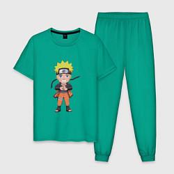 Пижама хлопковая мужская Наруто Узумаки цвета зеленый — фото 1