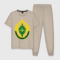 Пижама хлопковая мужская Пограничная служба цвета миндальный — фото 1