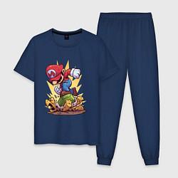 Пижама хлопковая мужская Mario Rage цвета тёмно-синий — фото 1