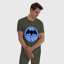 Пижама хлопковая мужская ВС РФ: Военная разведка цвета меланж-хаки — фото 2
