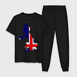 Пижама хлопковая мужская Великобритания (Great Britain) цвета черный — фото 1