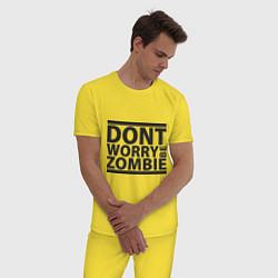 Пижама хлопковая мужская Dont worry be zombie цвета желтый — фото 2