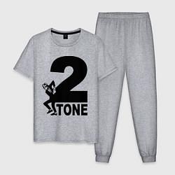 Пижама хлопковая мужская 2tone цвета меланж — фото 1