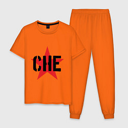 Пижама хлопковая мужская Че Гевара - звезда цвета оранжевый — фото 1