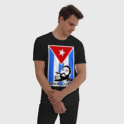 Пижама хлопковая мужская Fidel: Viva, Cuba! цвета черный — фото 2