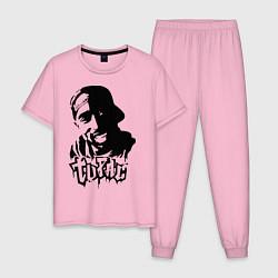 Пижама хлопковая мужская 2pac цвета светло-розовый — фото 1