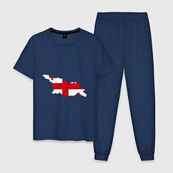 Пижама хлопковая мужская Грузия (Georgia) цвета тёмно-синий — фото 1