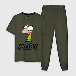 Пижама хлопковая мужская Moby цвета меланж-хаки — фото 1