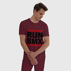 Пижама хлопковая мужская RUN BMX цвета меланж-бордовый — фото 2