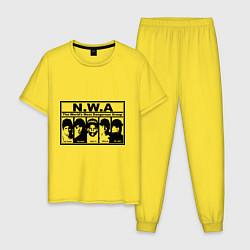 Пижама хлопковая мужская NWA цвета желтый — фото 1