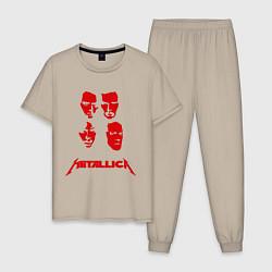 Пижама хлопковая мужская Metallica kvartet цвета миндальный — фото 1