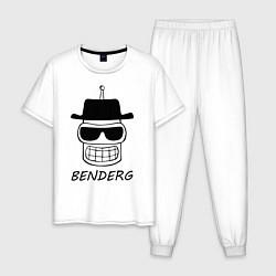 Пижама хлопковая мужская Benderg цвета белый — фото 1