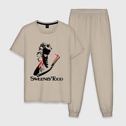 Пижама хлопковая мужская Sweeney Todd цвета миндальный — фото 1