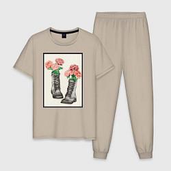Пижама хлопковая мужская Пионы в ботинках цвета миндальный — фото 1