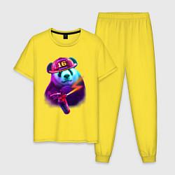 Пижама хлопковая мужская Панда-пожарник цвета желтый — фото 1