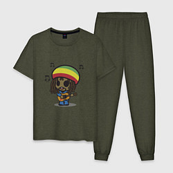 Пижама хлопковая мужская Маленький Боб Марли цвета меланж-хаки — фото 1