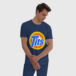 Пижама хлопковая мужская Tits (Титьки) цвета тёмно-синий — фото 2