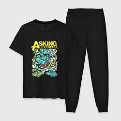 Пижама хлопковая мужская Asking Alexandria: Street style цвета черный — фото 1