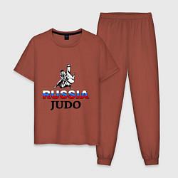 Пижама хлопковая мужская Russia judo цвета кирпичный — фото 1