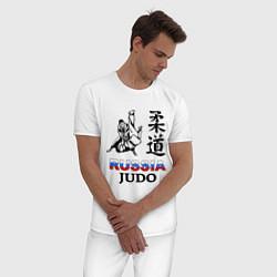 Пижама хлопковая мужская Russia Judo цвета белый — фото 2