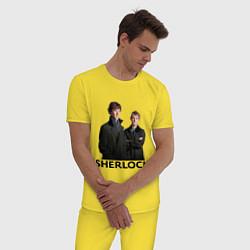 Пижама хлопковая мужская Sherlock цвета желтый — фото 2